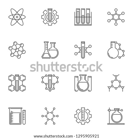 Vector set of Chemical concept icons or symbols in thin line style