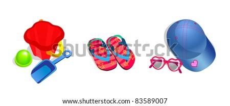 Vector set of children beach objects