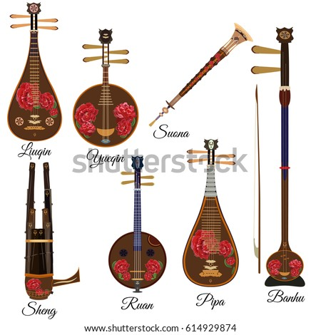 Vector set of chinese string and wind musical instruments with peony flowers in flat style. Pipa, ruan, suona, banhu, sheng, liuqin and yueqin icons isolated on white background.