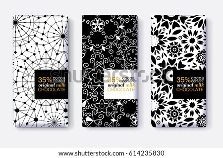 Vector Set Of Chocolate Bar Package Designs With Black and White Geometric Patterns. Editable Packaging Template Collection.
