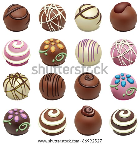 vector set of chocolate candies - stock vector