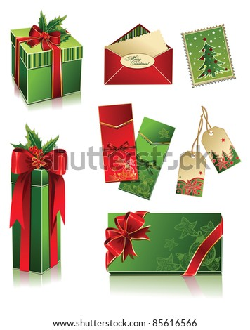 Vector set of christmas boxes and postcards - stock vector