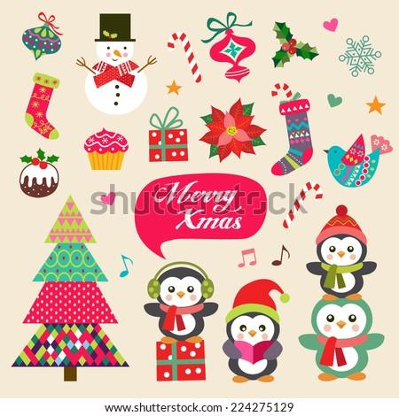 vector set of christmas