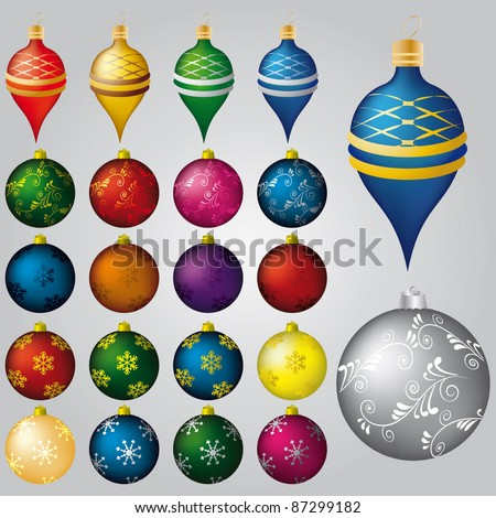 Vector set of 22 Christmas decorations