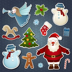 Vector set of Christmas elements at the vintage background