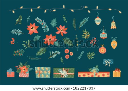 Vector set of Christmas floral elements. Needles, flowers, leaves, berries, gifts and toys. Design elements
