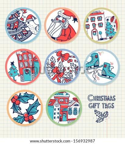vector set of christmas gift...