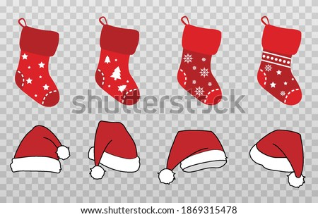 Vector set of Christmas hats and socks. Red socks, hats png. Christmas decorations. Decorations on the wall. Santa Claus socks and hat. Christmas image.