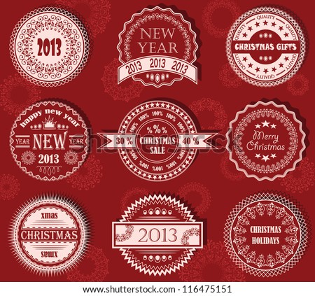 Vector set of Christmas labels in red