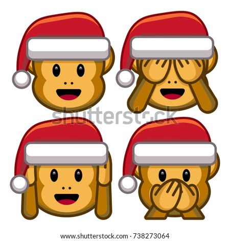 vector set of christmas monkeys
