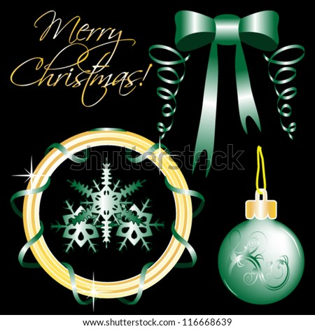 Vector set of Christmas ornaments and Christmas design elements isolated on black
