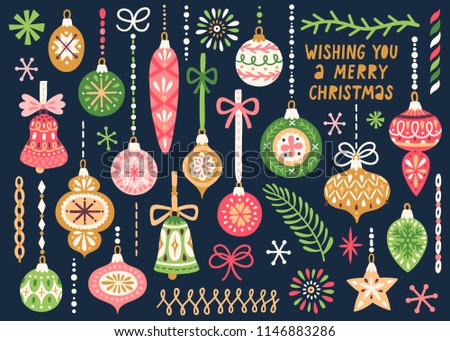 Vector set of Christmas ornaments hanging on ribbons. Vintage Xmas decorative elements are isolated on dark background. Cute hand drawing poster for Christmas and New Year holidays.