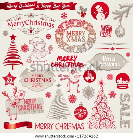 Vector set of Christmas signs, emblems and doodles - stock vector