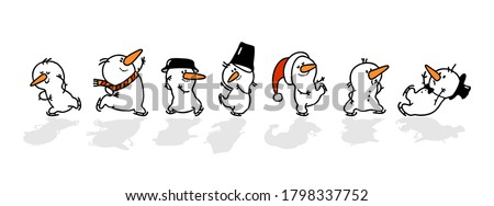Vector set of Christmas snowmen isolated on a white background. A set of cute playful snowmen on skates.  Happy New year, a fun Christmas design element.