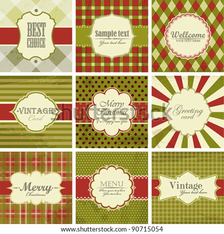 Vector set of christmas vintage backgrounds.