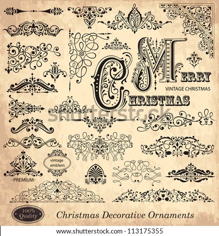 Vector set of Christmas vintage ornaments, design elements and  frames.