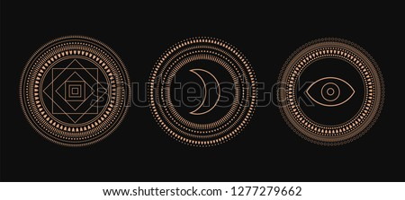Vector Set of Circle Geometric Ornaments. Geometric alchemy symbol. Abstract occult and mystic signs. Black background.