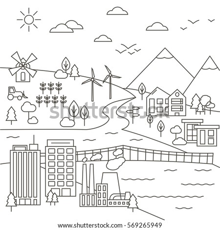 vector set of city  town and