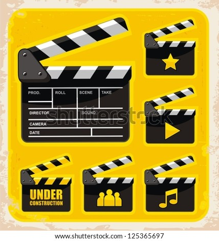 Vector set of clapboard design elements and icons. Movie and film design collection.