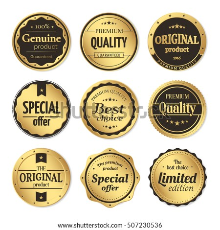 Vector set of classic gold badges and labels. Vintage elements with title Genuine product, Premium quality, Best choice, Limited edition, Special offer, Original product. Isolated from a background.