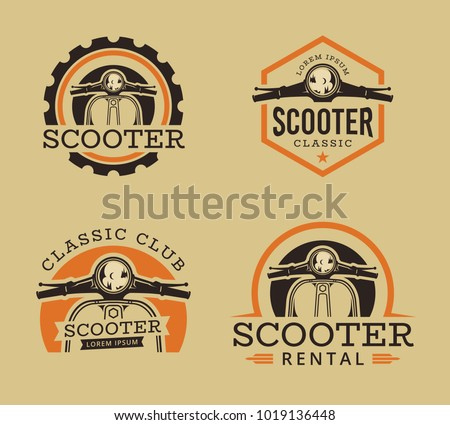 Vector set of Classic scooter emblems, icons and badges. Vector illustration of vintage scooter. Classic retro and vintage motorbike