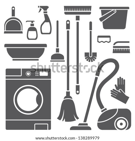Vector set of cleaning symbols