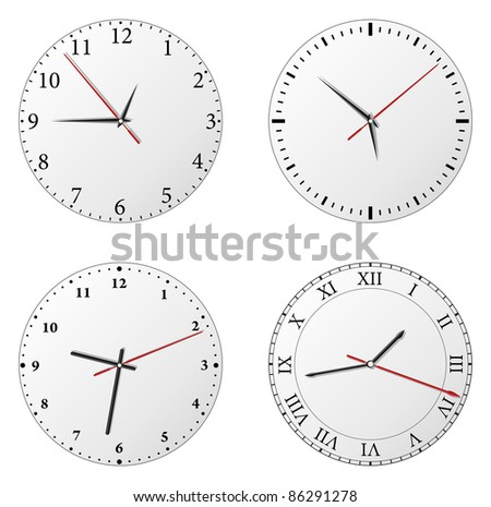 Vector set of clocks on white background