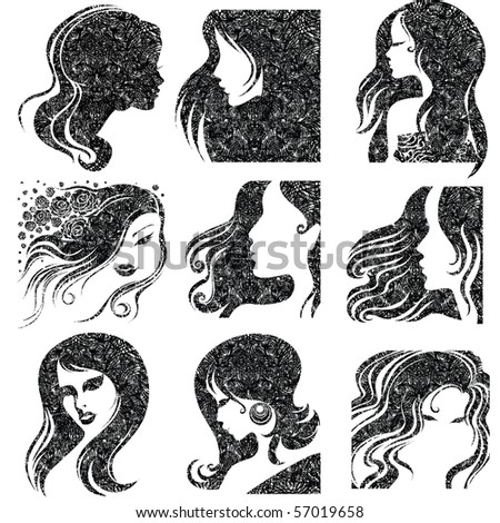 """Vector set of closeup grunge portrait of beautiful woman with long hair (From my big """"Vintage woman collection """")"""