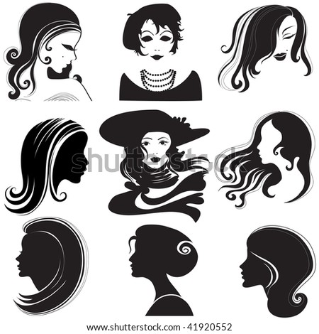 """Vector set of closeup silhouette portrait of beautiful woman with long hair (From my big """"Vintage woman collection """")"""