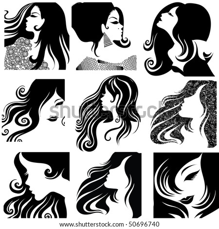 "Vector set of closeup silhouette portrait of beautiful woman with long hair (From my big ""Vintage woman collection "")"