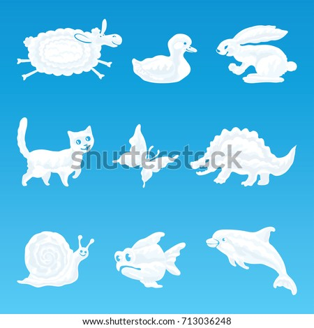 Vector set of clouds in the form of various funny animals