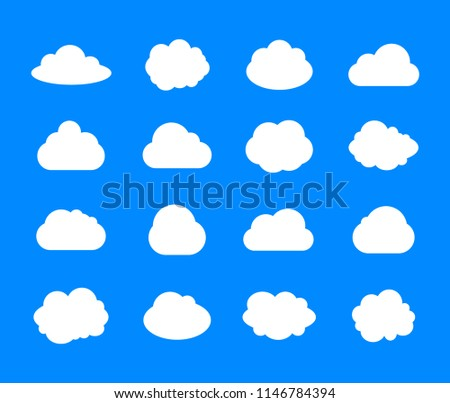 vector set of clouds  white