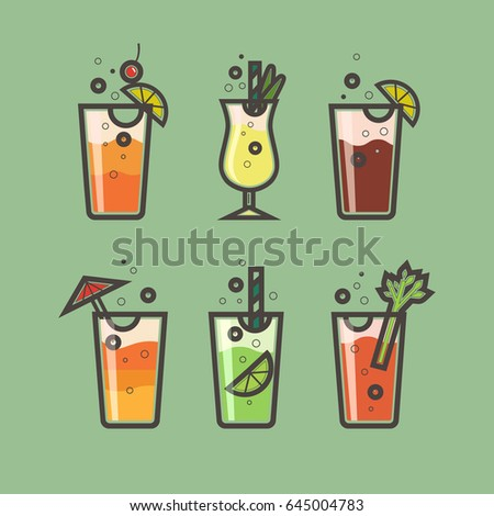 vector set of cocktails of flat