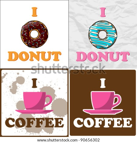 Vector set of coffee-cup and donut illustrations.