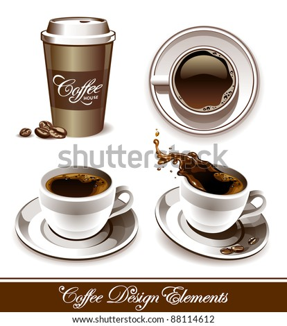 Vector set of coffee cups. All elements are grouped and layered.
