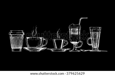 vector set of coffee cups on...