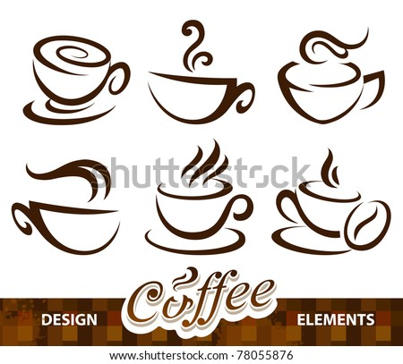 Vector set of coffee design elements.