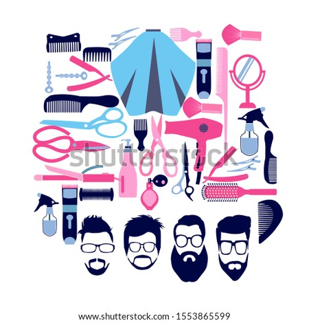 Vector set of Collection silhouette of Haircutting tools and barbershop objects for Beauty salon, haircut fashion, barbershop in flat style.