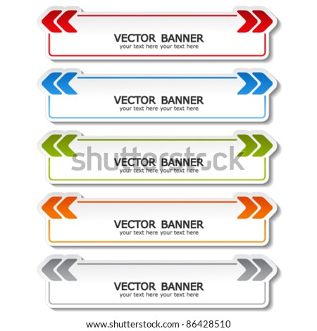 vector set of color banners with arrows
