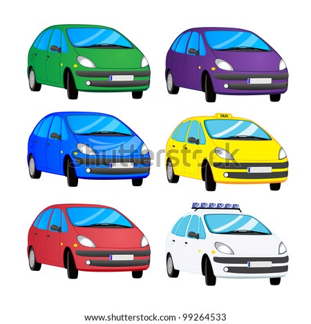Vector set of color cars