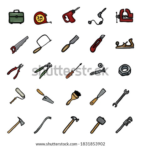Vector Set of Color Doodle Work Tools Icons Photo stock ©