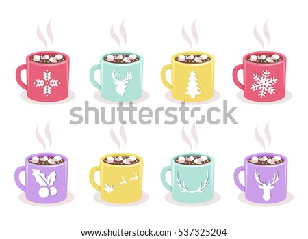 vector set of color mugs with