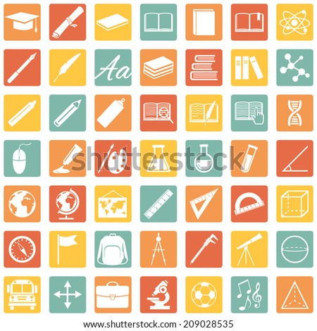 Vector Set of  Color Square 49 Education Icons. School and University.