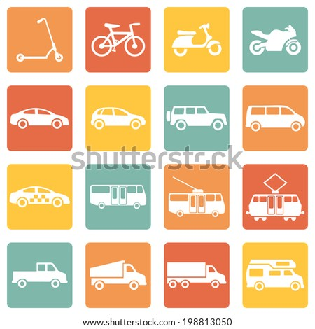 Vector Set of Color Square Ground Transportation Icons