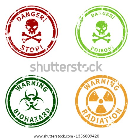 Vector Set of Color Warning Stamps. Danger Caution Seals. Biohazard, Toxic and Radiation Symbols.