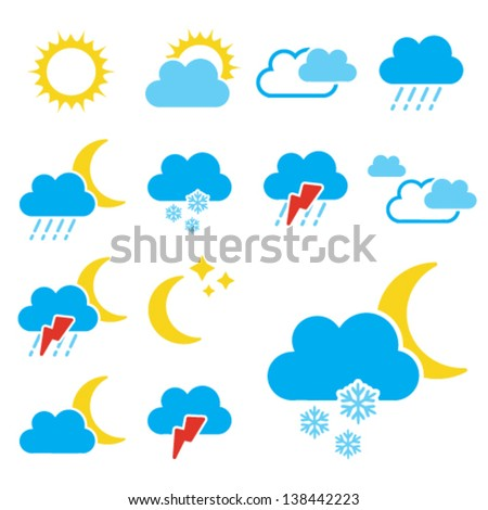 Vector set of color weather symbols - sign, icon  - stock vector
