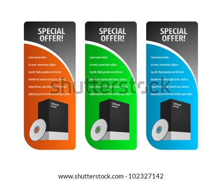 vector set of colored banners: blue, green,orange. Package Box With DVD Or CD Disk