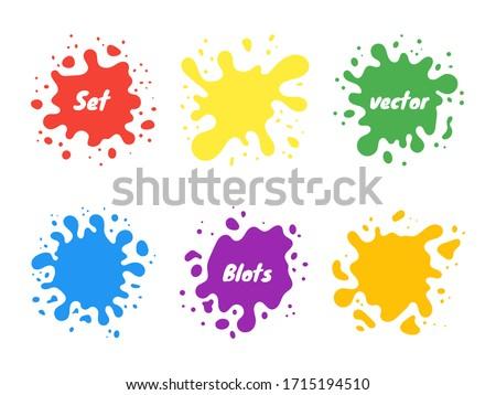 Vector set of colored blots on the white background. Vector illustration. Badges, emblem design templates.