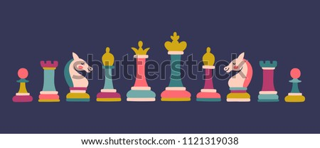 vector set of colored chess...