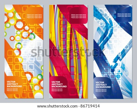 Vector set of colored flyer. 3d abstract elements on the patterned background